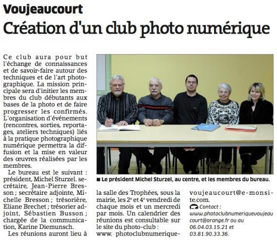 Création du Photo-Club (L'Est Republicain)