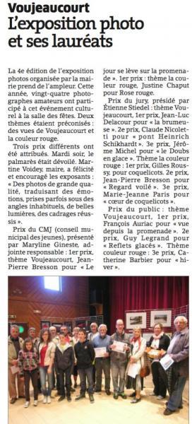 Lauréats expo Voujeaucourt 2012 (L'Est Republicain)