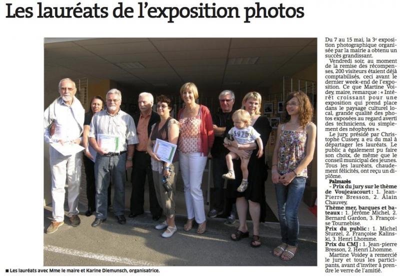 Lauréats expo Voujeauourt 2011 (L'Est Républicain)