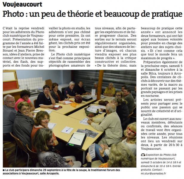 Seance du photo-club reprise 2013-2014 (L'Est Républicain)